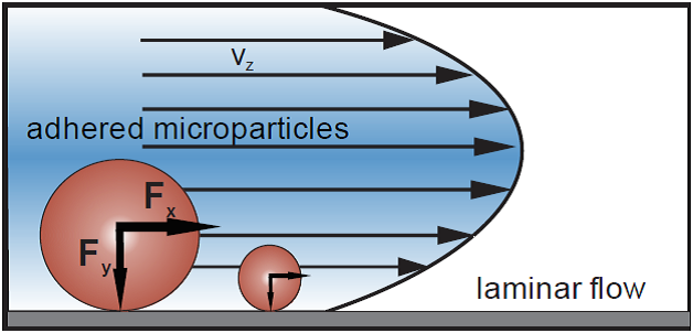 Schematic picture of acting force on a particle (swollen/shrunken state) inside laminar flow.
