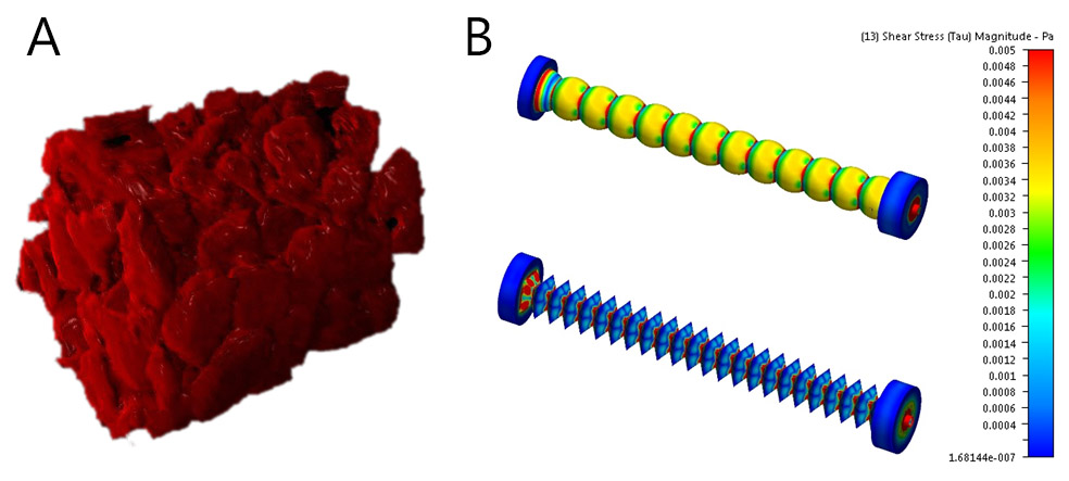Figure 2: 3D reconstruction of perfusion layer prepared by the solid template method (a), the wall shear pressure profiles on the 2 perfusion layers with sphere (up) and octahedron (down) geometry (b).