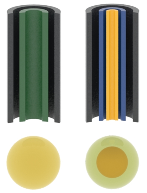 Two-fluid (left) and three-fluid (right) nozzle.